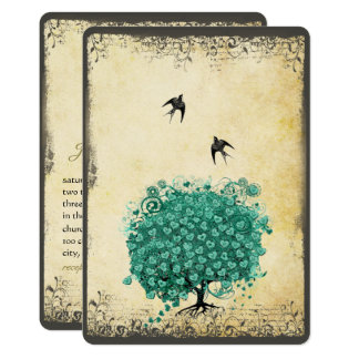 Romantic Heart Leaf Teal Tree Love Bird Wedding Card