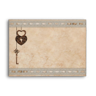 Romantic Heart Lock Key Faux Lace Envelope