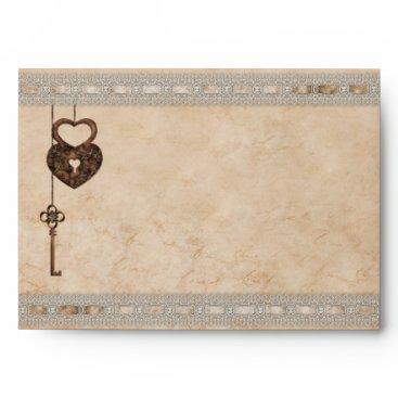 Valentines Themed Romantic Heart Lock Key Faux Lace Envelope