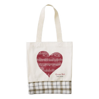 romantic heart love music zazzle HEART tote bag