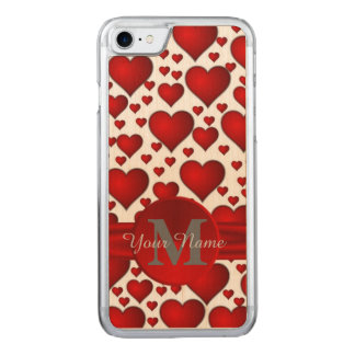 Romantic heart pattern monogrammed carved iPhone 8/7 case