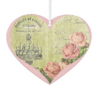 Romantic Heart Roses French Pink Decorative Car Air Freshener