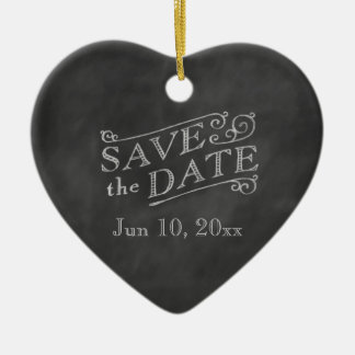 Romantic Heart Save the Date on Chalkboard Christmas Ornament