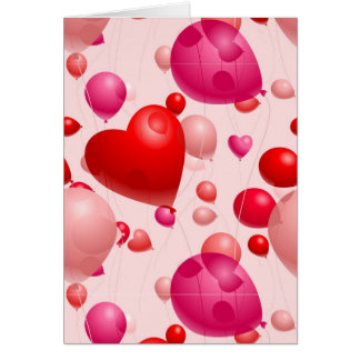 Romantic-Heart-Shaped-Balloons- PINK RED HEART SHA Card