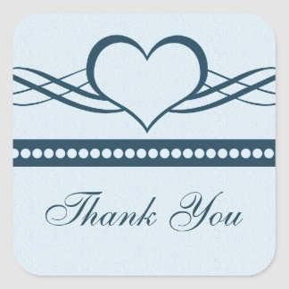 Romantic Heart Swirls Thank You Stickers