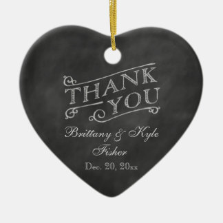 Romantic Heart Thank You on Chalkboard Double-Sided Heart Ceramic Christmas Ornament