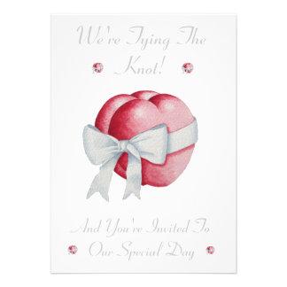 Romantic heart white bow wedding blessing invite