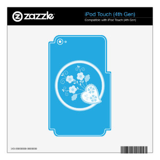 Romantic heart with flowers skins for iPod touch 4G