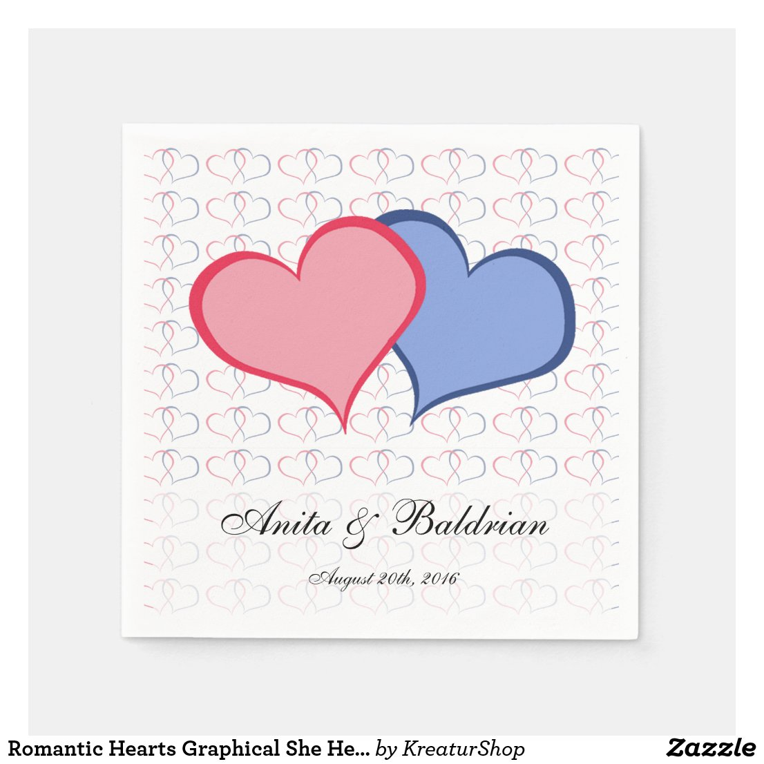 Romantic Hearts Graphical She He Pink Blue