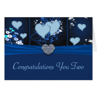 Romantic Hearts In Blue Floral Congrats Card