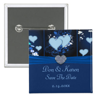 Romantic Hearts In Blue Floral Date Saver Pins
