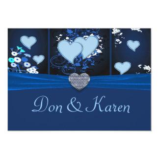 """Romantic Hearts In Blue Floral Invite 5"""" X 7"""" Invitation Card"""