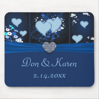 Romantic Hearts In Blue Floral Mouse Pad