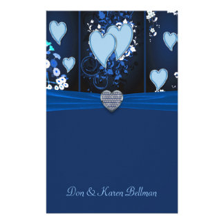 Romantic Hearts In Blue Floral Personalized Personalized Stationery
