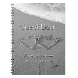 Romantic hearts in sand beach wedding guest book