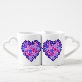 Romantic Hearts of Flowers Nesting Lovers Mugs