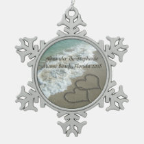 Romantic Hearts on the Beach Christmas Ornament. Snowflake Pewter Christmas Ornament
