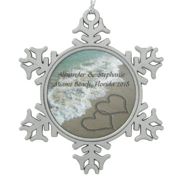 Beach Themed Romantic Hearts on the Beach Christmas Ornament. Snowflake Pewter Christmas Ornament