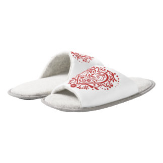 Romantic Hearts Pair Of Open Toe Slippers