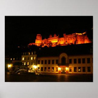 Romantic Heidelberg castle at night Poster