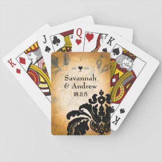 Romantic Heirloom Vintage Gold Rose Black Damask Playing Cards
