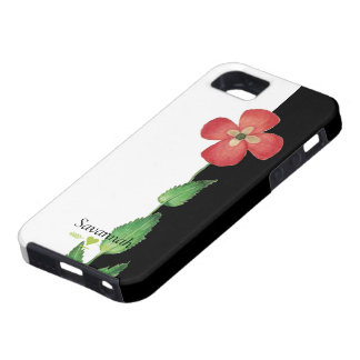 Romantic Heirloom Vintage Pansy Black and White iPhone SE/5/5s Case