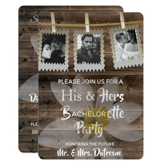 """His Hers Wedding Invitations Templates: Romantic """"His & Hers"""" Bachelor/Bachelorette Party"""