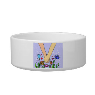 Romantic Holding Hands - dating / anniversary gift Cat Water Bowl