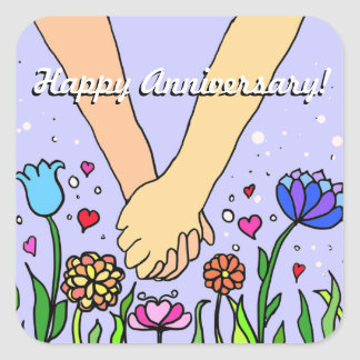 Romantic Holding Hands - dating / anniversary gift Square Sticker