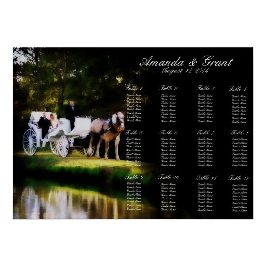 Romantic Horse Carriage Wedding Seating Chart