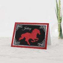 Romantic  Horse & Heart Valentine Holiday Card