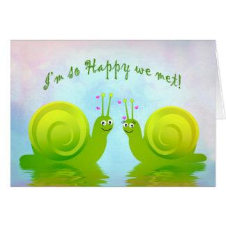 Romantic Humorous Snails in Love - Glad we Met Card