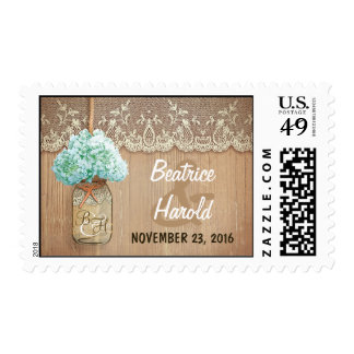 romantic hydrangea mason jar rustic wedding stamp