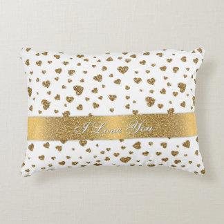 "Romantic ""I Love You"" gold faux glitter hearts Decorative Pillow"