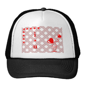 Romantic I Love You illustration with red hearts Trucker Hat