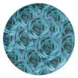 Romantic Ice Blue Rose Plate
