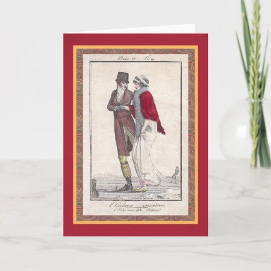Romantic Ice Skating Vintage Style Christmas Cards Zazzle Com