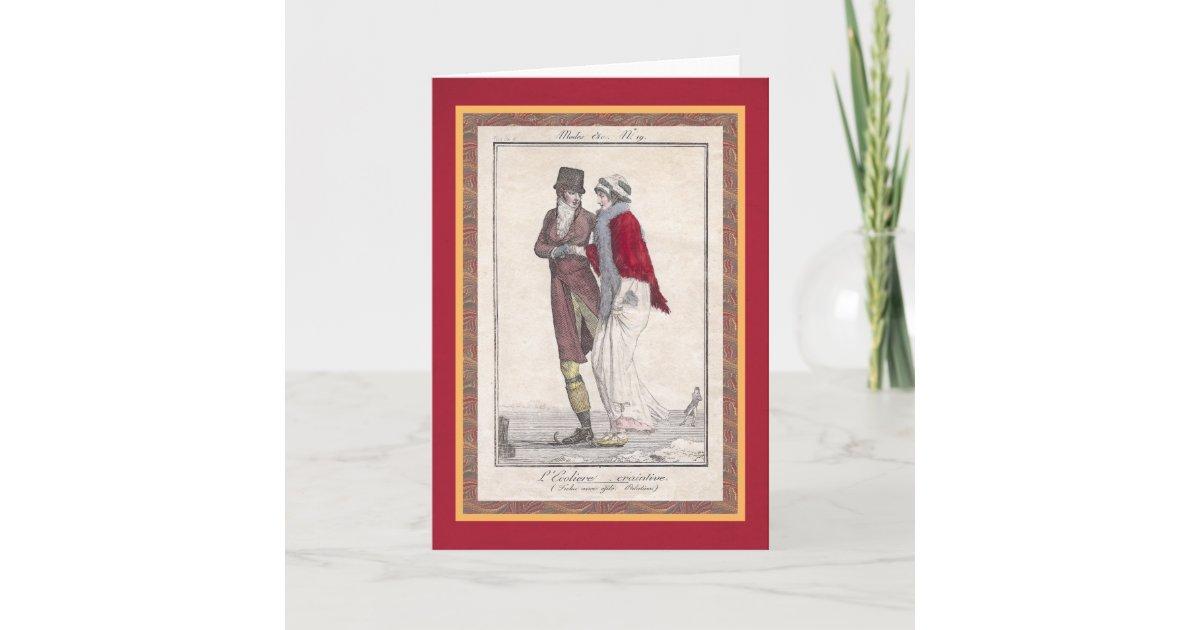 Romantic Ice Skating Vintage Style Christmas Cards | Zazzle.com