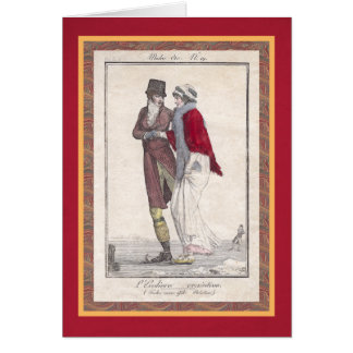 Romantic Ice Skating Vintage Style Christmas Cards