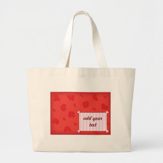 Romantic illustration with  hearts and pink frame large tote bag