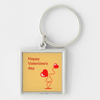 Romantic illustrations with two hearts keychain