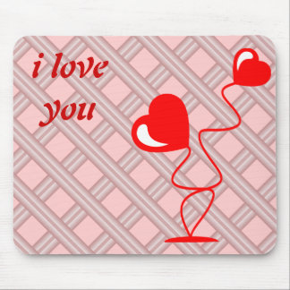 Romantic illustrations with two hearts mouse pad