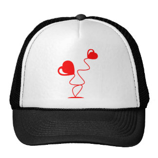 Romantic illustrations with two hearts trucker hat