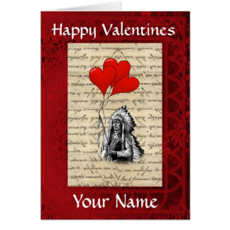 Romantic  indian chief  valentines day greeting card