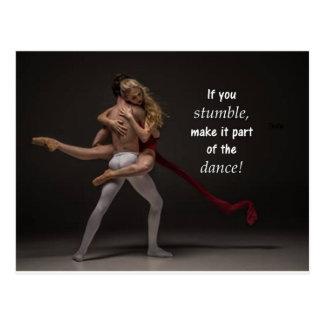 Romantic Inspirational Quote Ballet Couple Postcard