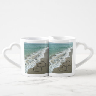 Romantic Interlocking Hearts on Beach Coffee Mug Set