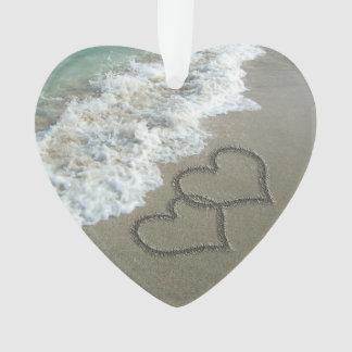 Romantic Interlocking Hearts on Beach Ornament