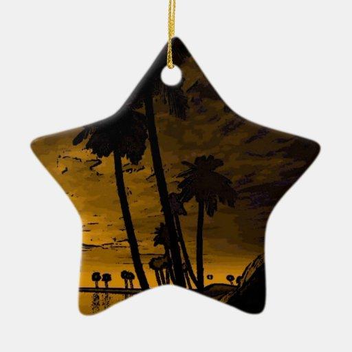 romantic island golden christmas tree ornament