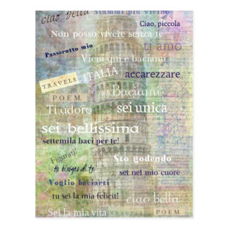 Romantic Italian Phrases and words Postcard