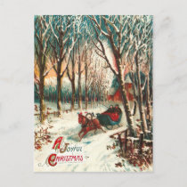 Romantic Joy Ride in A Sleigh at Christmas Holiday Postcard